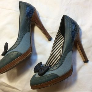 L.A.M.B. Shoes - L.A.M.B. Blue Leather Bow Pumps Heels